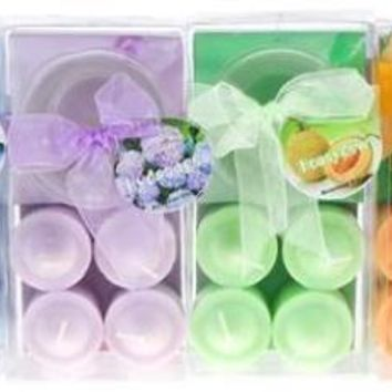 4-Piece Scented Votive Candle with Glass Holder in Clear Box - Assorted - CASE OF 48