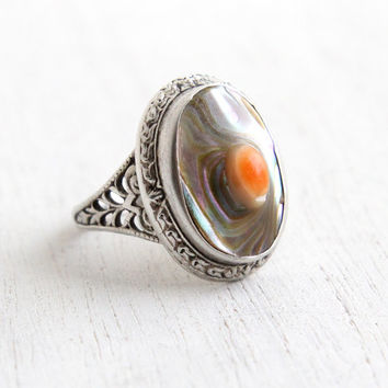 Antique Sterling Silver Blister Pearl Ring - Vintage Filigree Art Deco 1920s Size 5 Colorful Jewelry