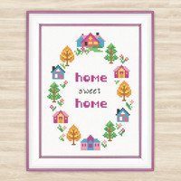 Buy 2 get 1 free Wreath Home sweet home Cross Stitch Pattern PDF floral lettering wreath cute sampler houses pattern quote home decor wall