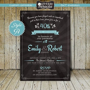 Chalkboard wedding anniversary invitations / Printable party invites / 30th 40th 50th 60th anniversary invitation / Milestone birthday
