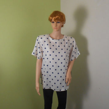 Polka Dot Blouse - JH Collectibles  -  White Blouse with Blue Polka Dots - Size  14 - Spring Blouse - Free US Shipping