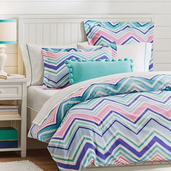 Zig N Zag Duvet Cover + Sham, Cool Multi