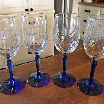 Set of 4 - LENOX Blue Stem Swag Draped Wine Glasses with Gold Rim