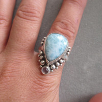One of a Kind Sterling Silver Larimar & Moonstone Ring
