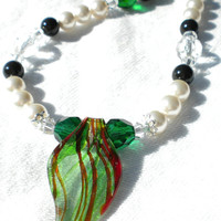 Baucis Green Black and White Swarovski Pearl and Crystal Necklace
