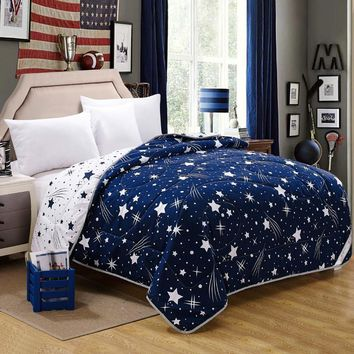Cool 100% Microfiber Fabric Summer Throw Quilts Comforter Starry Printed Queen King Size Bed Cover Sheets Soft Blanket Single QuiltsAT_93_12