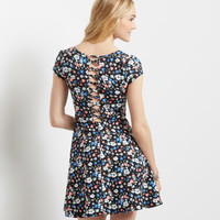 Floral Lattice-Back Skater Dress