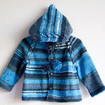 Hand Knitted Baby Boy Wool Hoodie Cardigan/Jacket, Blue Batik, 6-12 months, READY TO SHIP