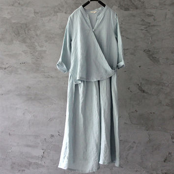 2017 Original Linen Maxi Dress Harajuku Summer New Women V-Neck Irregular Seven Sleeve 4 Colour Nation Style Brief Dress Robes