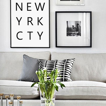 NYC, New York City, New York Print, Modern Typography, Scandinavian Print, Typography Printable Art, Scandinavian Style, Affiche Scandinave
