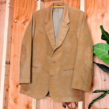 Vintage 70s western blazer / XL  size 44 / 1970s Pioneer Wear sport coat / brown corduroy western jacket / cord sports coat / made in USA