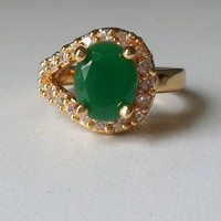 Natural Emerald and Diamond Yellow Gold Ring, May Birthstone, Engagement Wedding Rings, Free US Shipping