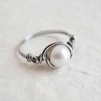 Antiqued Silver Pearl Rose Ring - unique rings - custom