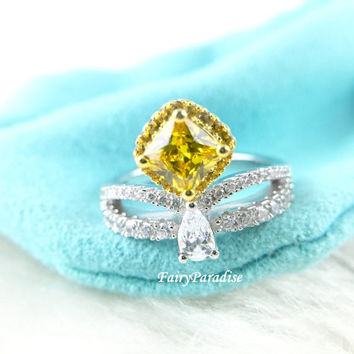 Two Tone Princess Crown Ring, Art Deco Halo Engagement Rings, Tiara Ring, Promise Ring, 0.8 ct Yellow Cushion Cut Man Made Diamond