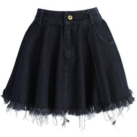 Tassel Trim Denim Mini Skirt in Black Black