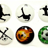 Soccer Sports - 6 Piece Home Button Stickers for Apple iPhone, iPad, iPad Mini, iTouch