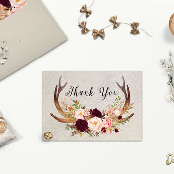 Printable Rustic Thank You card with Floral Deer Antlers, Bohemian Wedding Card, Flat or Folded, Burgundy Blush Greeting Card, Digital File