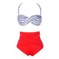 High-Waisted Sailor Bikini