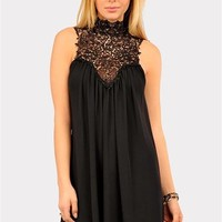 Venetian Crochet Dress - Black