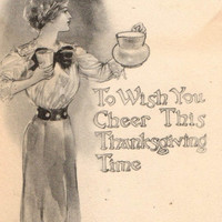 Elegant Antique Black and White Thanksgiving Greetings Postcard Early 1900s