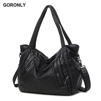 GORONLY Brand Classic Soft Leather Large Handbag Women Designer Shoulder Bags Female Knitting Totes Fashion Ladies Crossbody Bag