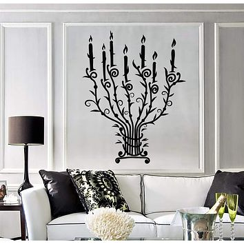 Vinyl Wall Stickers Candle Candlestick Vintage Chandelier Branches Light Decal Unique Gift (172ig)