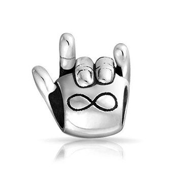 Infinate Love Sign Language Hand Signal Charm Bead 925 Sterling Silver