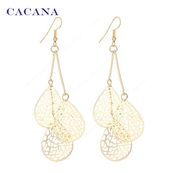 Gold Plated Dangle Long Earrings For Women Three Big Water Drop Shape Leaves