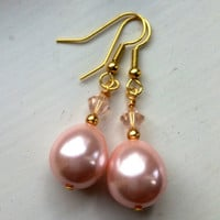 Handcrafted Bridal & Bridesmaid Earrings - Baby Pink Pearl with Pink Swarovski Bicone Crystal Drop Earrings. Magnificent!
