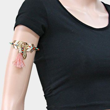 Beaded Metal Arrow Arm Cuff Bracelet With Feather & Tassel Charm