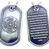 Firefighter's Prayer Fire Rescue Maltese Cross Brushed Steel Dog Tag