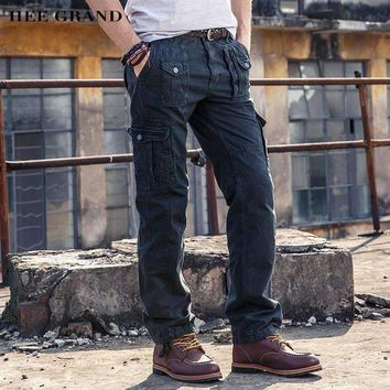 Mens Cargo Pants Loose Mid-Waist Whole Cotton Breathable Material Plus Size 29-38 Mkx1230
