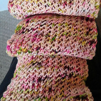 Scarf Knit Net, Pink, White, Lime Green, Dark Purple, Mottle