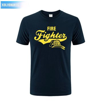 KOLVONANIG 2017 Summer Dress New Fire Firefighter Boyfriend Print Mens T Shirt Short Sleeve Tracksuit For Men T-Shirt Tshirts