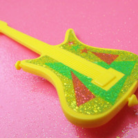 Plastic Barbie Style Guitar Brooch - Yellow Green Glitter Sparkle - Toy Guitar Plastic Pin - Big Bold Kitsch Guitar - One of a Kind - Unique