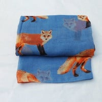 "Quirky ""Fox"" Soft Over Sized Scarf/Shawl."