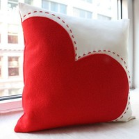 Big Red Heart Pillow by HoneyPieDesign on Etsy