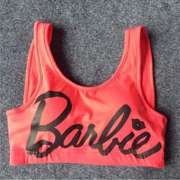 Barbie letters shockproof movement fluorescent color vest - fitness yoga without rims corset Roses