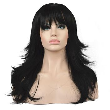 """22"""" Feather Layered Straight Synthetic Wig with Bangs"""