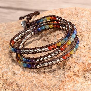 7 Chakra Balancing Leather Wrap Bracelet - Handmade with Semi Precious Stone Beads