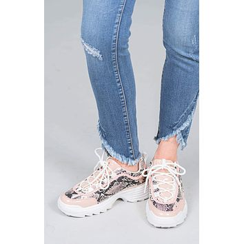 Sailor Snakeskin Lace-up Sneakers