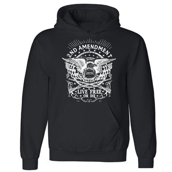 Zexpa Apparel™ 2nd Amendment Unisex Hoodie Second Gun Right Live Free Or Die Hooded Sweatshirt
