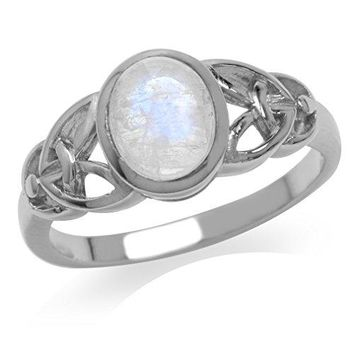 Natural Moonstone White Gold Plated 925 Sterling Silver Celtic Knot Ring
