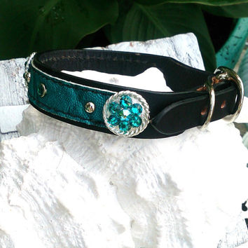 Turquoise Dog Collar, Pet Collar, Swarovski Crystal, Black Leather Collar, Bling Dog Collar, 16 inch collar
