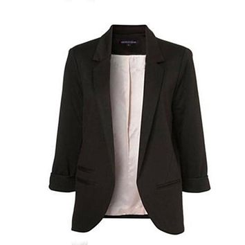 New Women Casual Slim Suit Blazer Suits Coat 3/4 Sleeve Outwear Business Blazer
