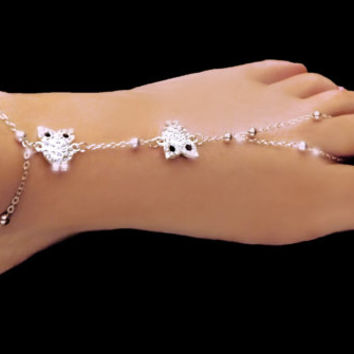 Owl anklet, boho anklet, barefoot sandals, silver anklet, gypsy anklet, beach feet, body jewelry, owl jewelry, chain anklet, gypsy feet
