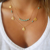 Jewelry Shiny New Arrival Gift Stylish Turquoise Double-layered Accessory Necklace [6464828993]