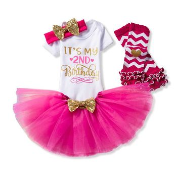 Newborn Baby Dress Kids Party Clothes For 2 years Girls Boutique Clothing Infant Second Birthday Tutu Outfits vestidos de bebes