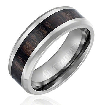 8MM Men's Titanium Ring Wedding Band | Black Wood Inlay and Beveled Edges