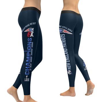 New England Patriots 6X Champs Leggings Navy Blue Black Bell